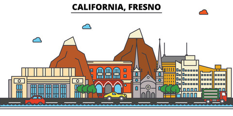 California, Fresno.City skyline: architecture, buildings, streets, silhouette, landscape, panorama, landmarks. Editable strokes. Flat design line vector illustration concept. Isolated icons