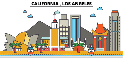 California, Los Angeles.City skyline: architecture, buildings, streets, silhouette, landscape, panorama, landmarks. Editable strokes. Flat design line vector illustration concept. Isolated icons Fototapete