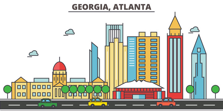 Georgia, Atlanta.City skyline: architecture, buildings, streets, silhouette, landscape, panorama, landmarks. Editable strokes. Flat design line vector illustration concept. Isolated icons