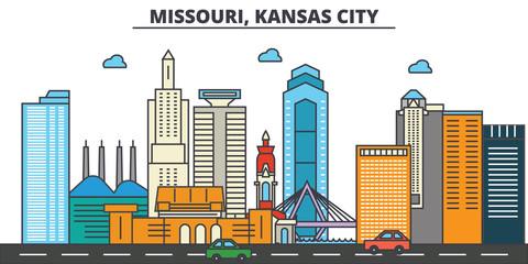 Missouri, Kansas City.City skyline: architecture, buildings, streets, silhouette, landscape, panorama, landmarks. Editable strokes. Flat design line vector illustration concept. Isolated icons