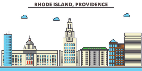 Rhode Island, Providence.City skyline: architecture, buildings, streets, silhouette, landscape, panorama, landmarks. Editable strokes. Flat design line vector illustration concept. Isolated icons