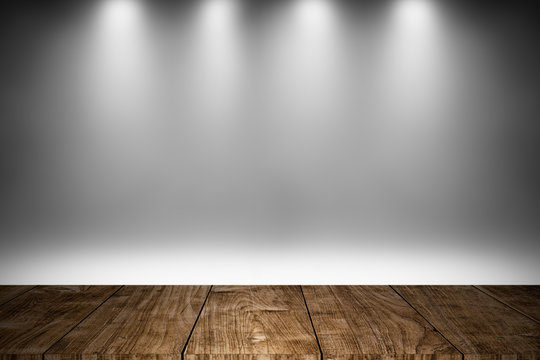 wood stage or wooden floor with white lighting decoration background design for show products