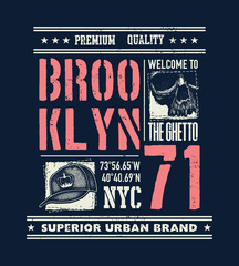 vintage urban typography with skull