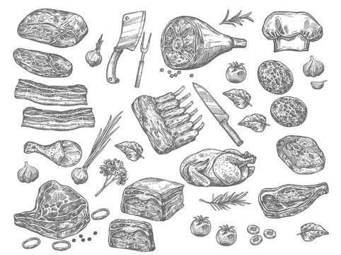 Vector sketch icons of meat for butchery shop