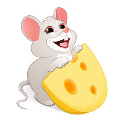 White mouse with cheese. Albino. Children's illustration. A white mouse with red eyes wants to eat a piece of cheese with big holes. Cheerful illustration of animals for children.