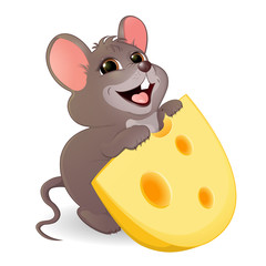 A little funny mouse with a stolen piece of cheese. Children's illustration. The gray mouse wants to eat a piece of cheese with big holes. Cheerful illustration of animals for children.