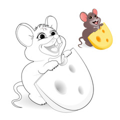 A little funny mouse with a stolen piece of cheese. Wants to eat a piece of cheese with big holes. Vector illustration, isolated. Coloring, Black and white picture for coloring. Children's creativity.