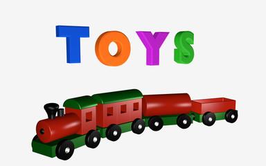 Holzeisenbahn unter dem Schriftzug Toys