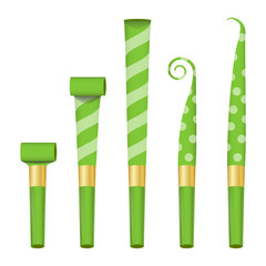 Blower Horn Set Vector. Green Party Blower Sign. Isolated On White Background Illustration