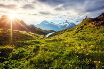 Wall Mural - Panorama of Mt. Schreckhorn and Wetterhorn. Location place Bachalpsee in Swiss alps, Grindelwald, Europe.