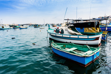 Mediterranean traditional colorful boats in Malta