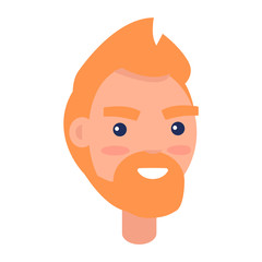 Red Male Character Face Front View Illustration