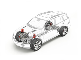 Suv technical drawing showing undercarriage.