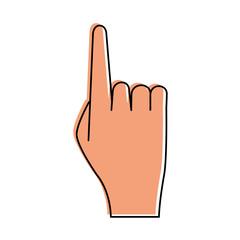 hand lifting index finger icon image vector illustration design  pink color