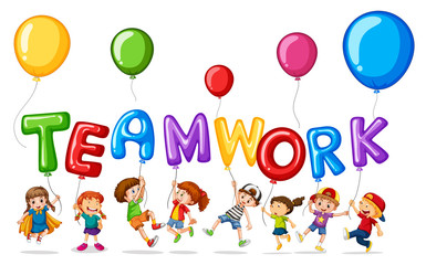 Children with balloons for word teamwork