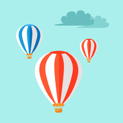 Airballoons Flying in Blue Sky Vector Illustration
