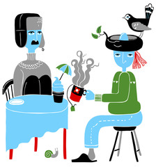 Blue Characters Having Teatime