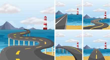 Five scenes of road across the ocean