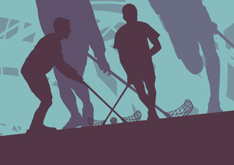 Floorball player indoor abstract vector background man with stick