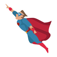 superhero with blue uniform and red cape avatar icon image vector illustration design