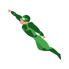 superhero with green uniform flying  avatar icon image vector illustration design