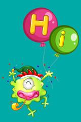 Monster holding balloons saying hi