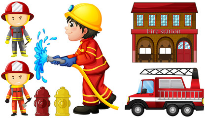 Firefighters and fire station