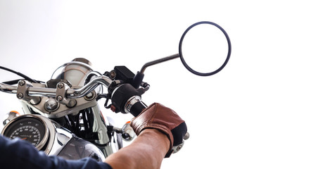 Man on motorcycle on white background
