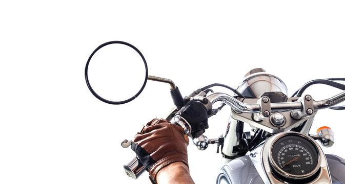 Man on motorcycle on white background
