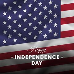 Banner or poster of USA independence day celebration. Waving flag. Vector illustration.