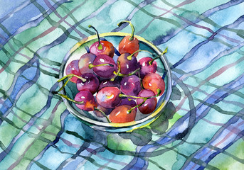 Still life with cherries on the colored tablecloth. Watercolor. Illustration