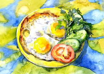 Tasty still life with vegetables and eggs. Watercolor. Illustration