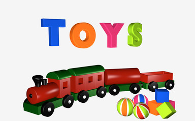 Wooden railway with wagons.