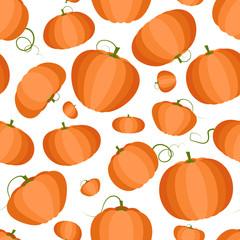 Pumpkin, seamless pattern. Flat style.