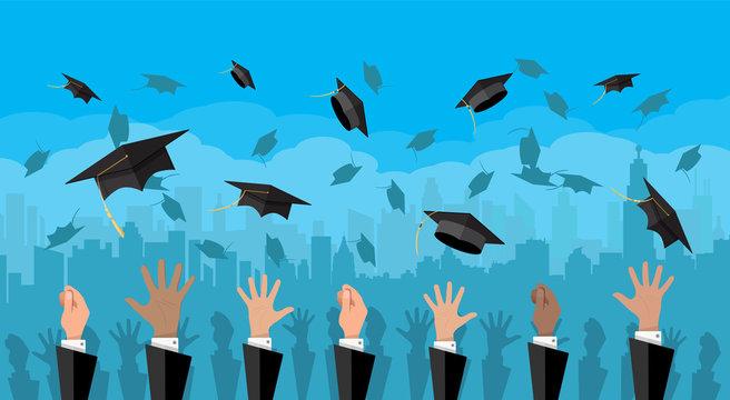 Concept of education. College, university ceremony