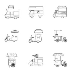 Different food truck icons set, outline style