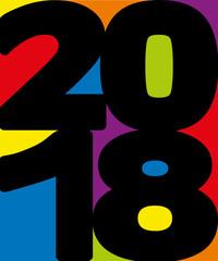 2018 - carte de vœux - année - présentation -vœux - colorée