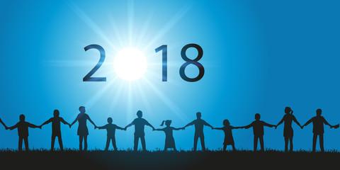 2018 - solidarité - solidaire - union - carte de vœux - année - chaîne humaine
