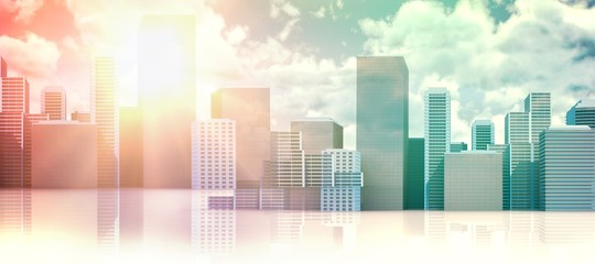 Composite image of cityscape against white background