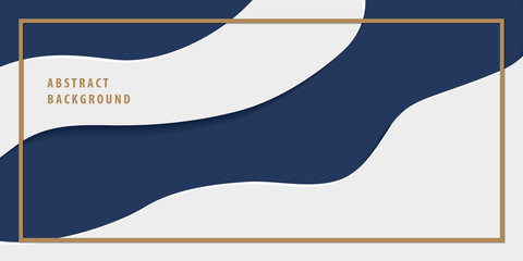 Modern freeform abstract paper cut layer background banner navy blue and white color vector. Background concept.