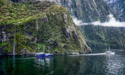 Boats on Milford Sound, Fiordland National Park, New Zealand