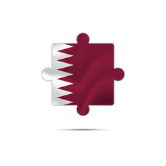 Isolated piece of puzzle with the Qatar flag. Vector illustration.