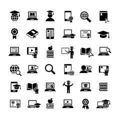 online study education 36 simple icons set black on white background