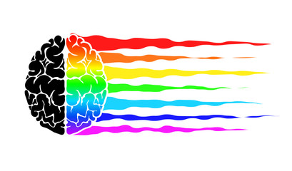 Abstract logo with the human brain as a flag of LGBT. Rainbow as a symbol of the community.