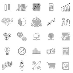 Set of stock forex icons. Finance exchange investing icon. Money, income, trade. Vector illustration