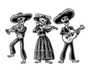 Day of the Dead, Dia de los Muertos . The skeleton in the Mexican national costumes dance, sing and play the guitar, violin, trumpet