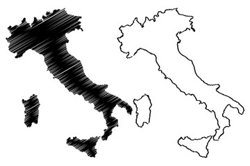 Italy map vector illustration, scribble sketch Italy