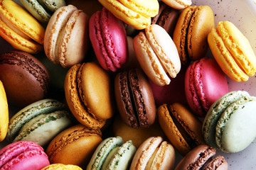Foto auf Gartenposter Macarons Sweet and colourful french macaroons or macaron on white background, Dessert.