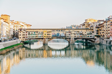 View of the Old Bridge in Florence in winter