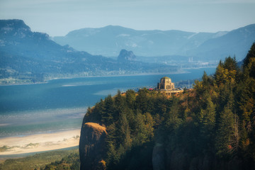 The Columbia River and Gorge, forming the border of Oregon and Washington states. Shot from Chanticleer Point, Crown point and Vista House are visible.